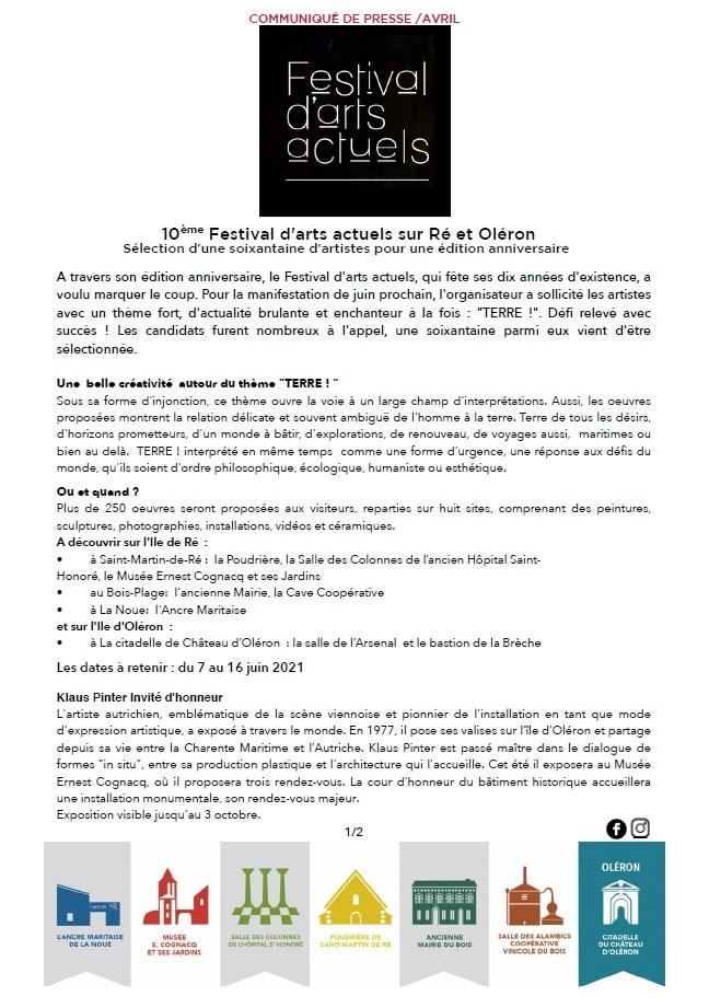 COMMUNIQUÉ DE PRESSE / AVRIL 2021 - FAA