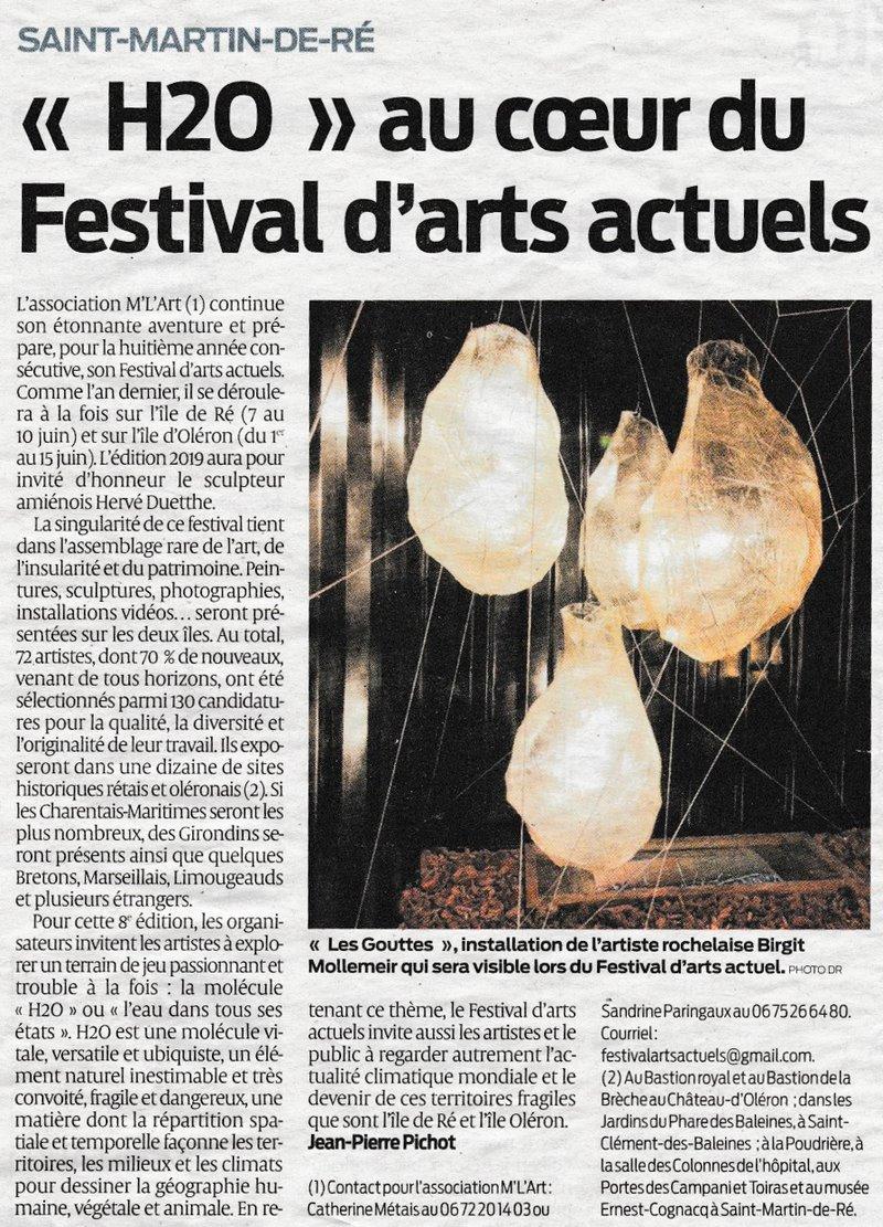 « H2O » au cœur du Festival d'arts actuels Sud-Ouest Le Mag, 20 février 2019