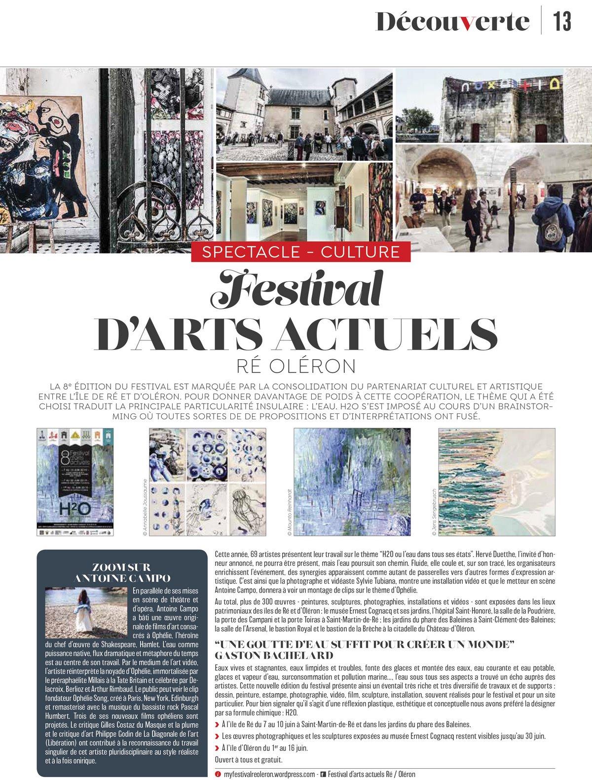 Festival d'Arts Actuels Ré Oléron Ici Magazine, juin 2019